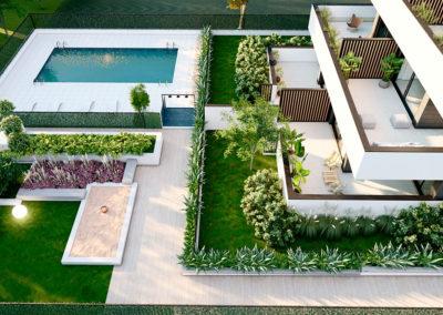 Attic Villanueva fachada y jardín