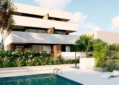 Attic Villanueva Interior piscina y fachada